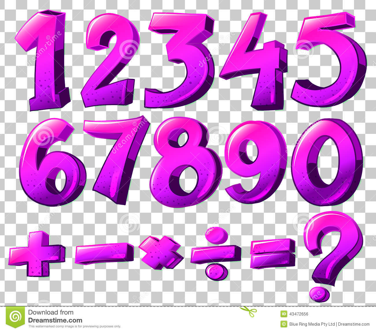 Numbers In Pink Color Stock Vector Illustration Of Four