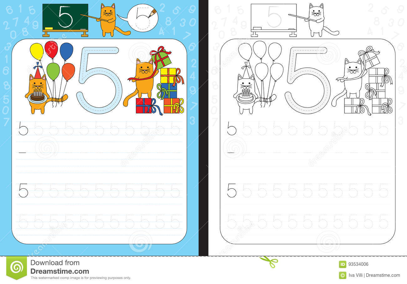 Numbers Tracing Worksheet Stock Vector Illustration Of