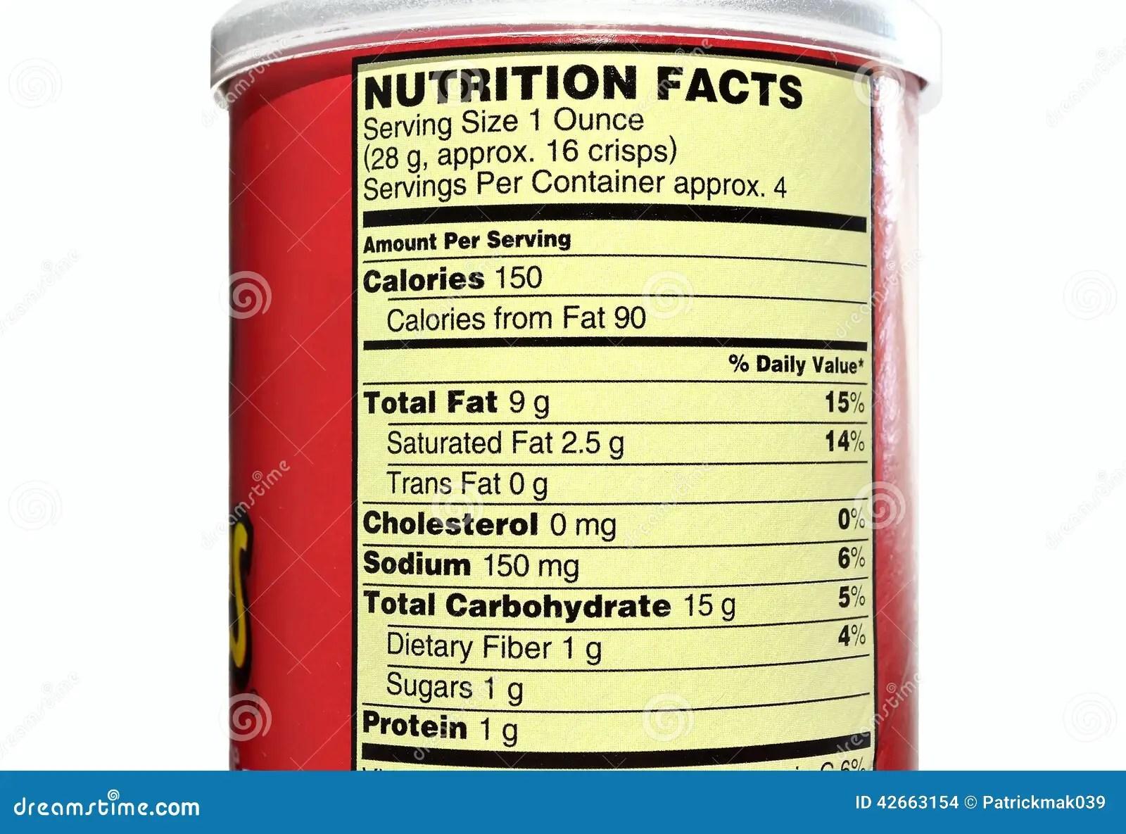 Potato Chips Food Label