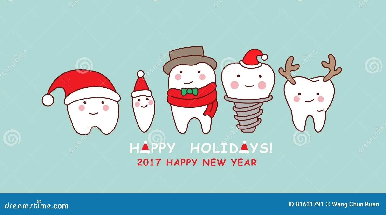 O Dente Bonito Dos Desenhos Animados Comemora O Natal