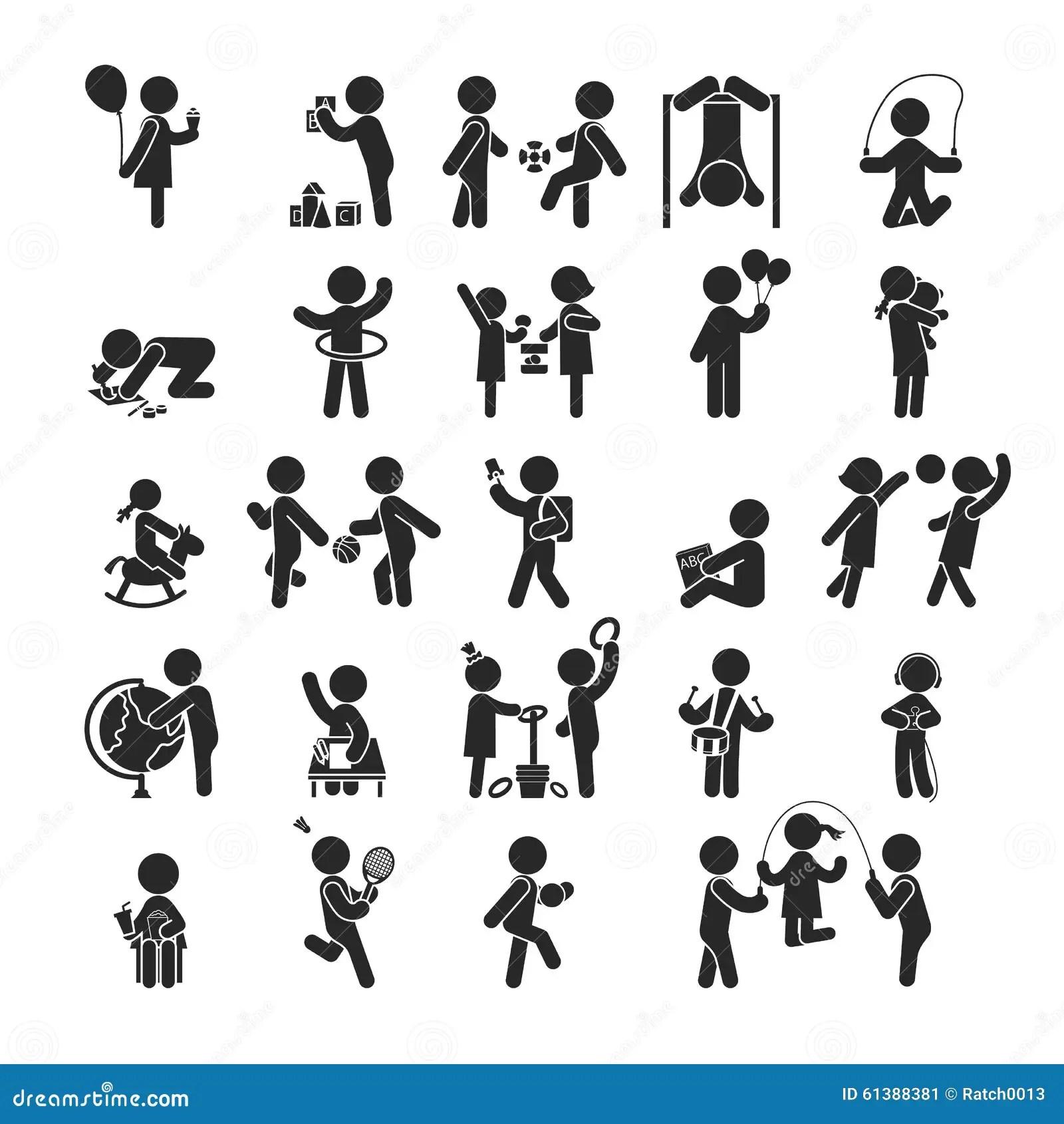 O Grupo De Atividades Das Criancas Joga E Aprende Icones
