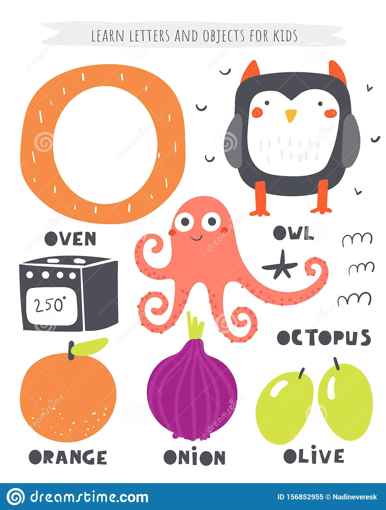 O Letter Objects And Animals Including Octopus Oven Owl