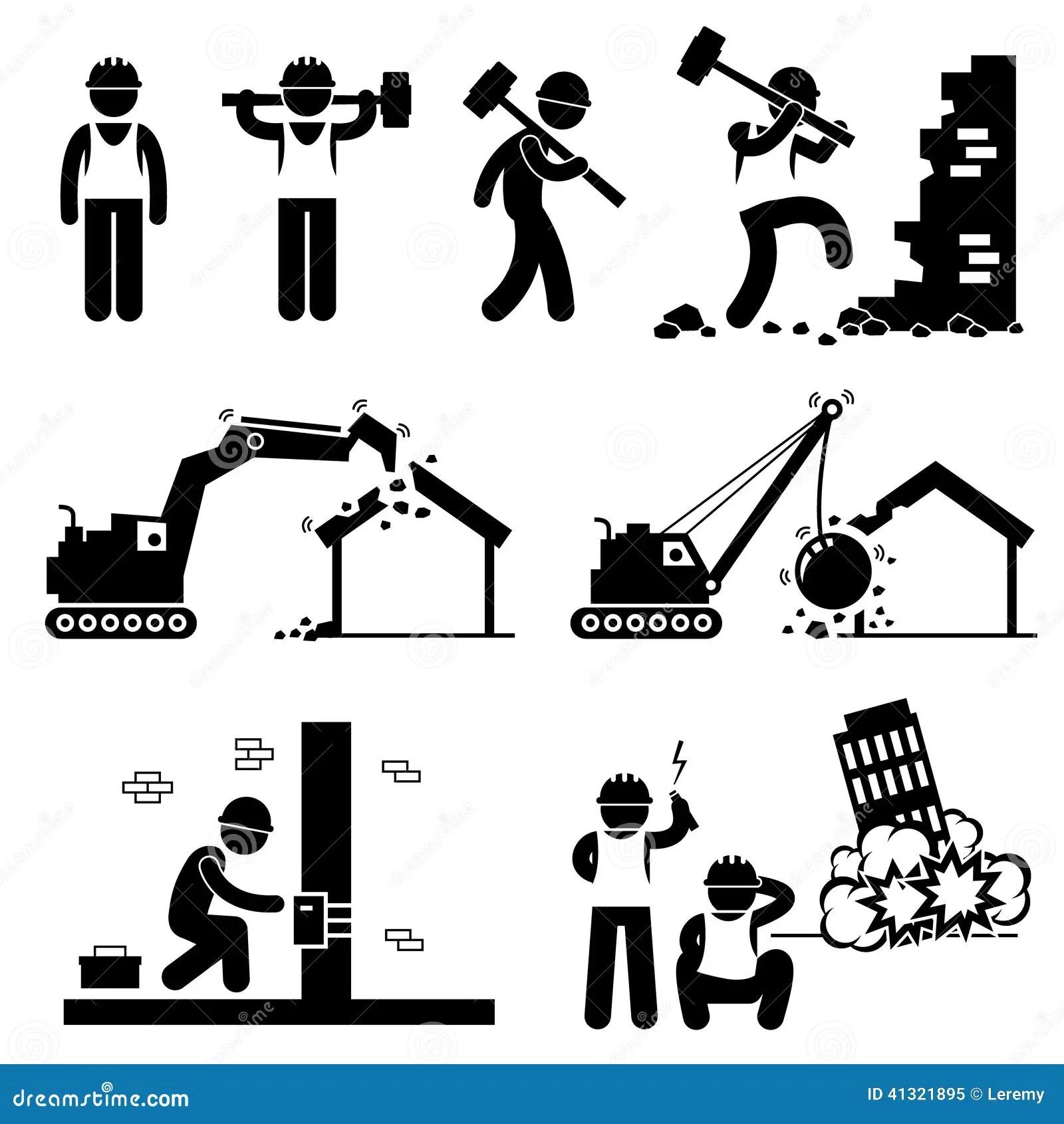 O Trabalhador De Demolicao Demole O Icone Cliparts Da