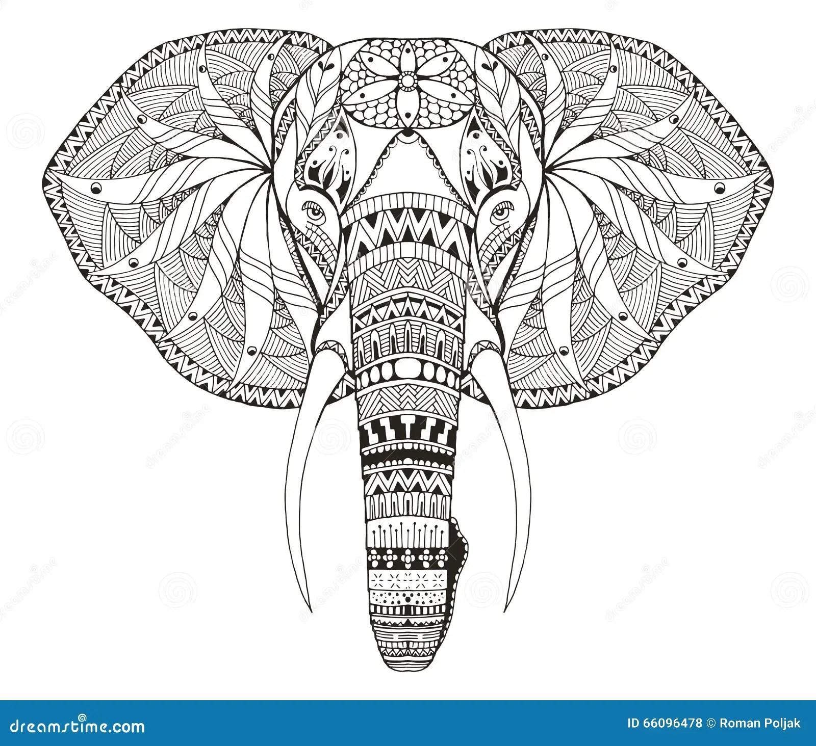 O Zentangle Principal Do Elefante Estilizou Vector
