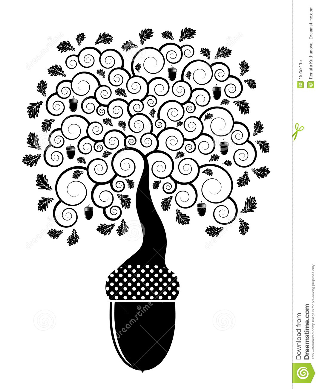 Oak Tree Growing From Acorn Stock Vector