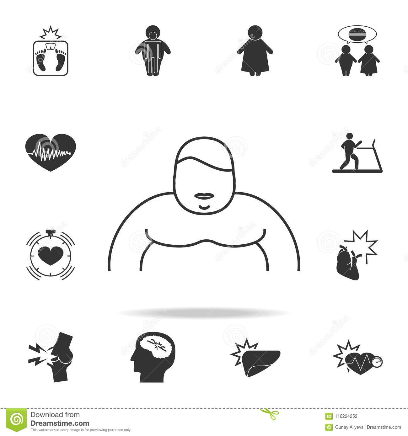 An Obese Person Icon Detailed Set Of Obesity Icons