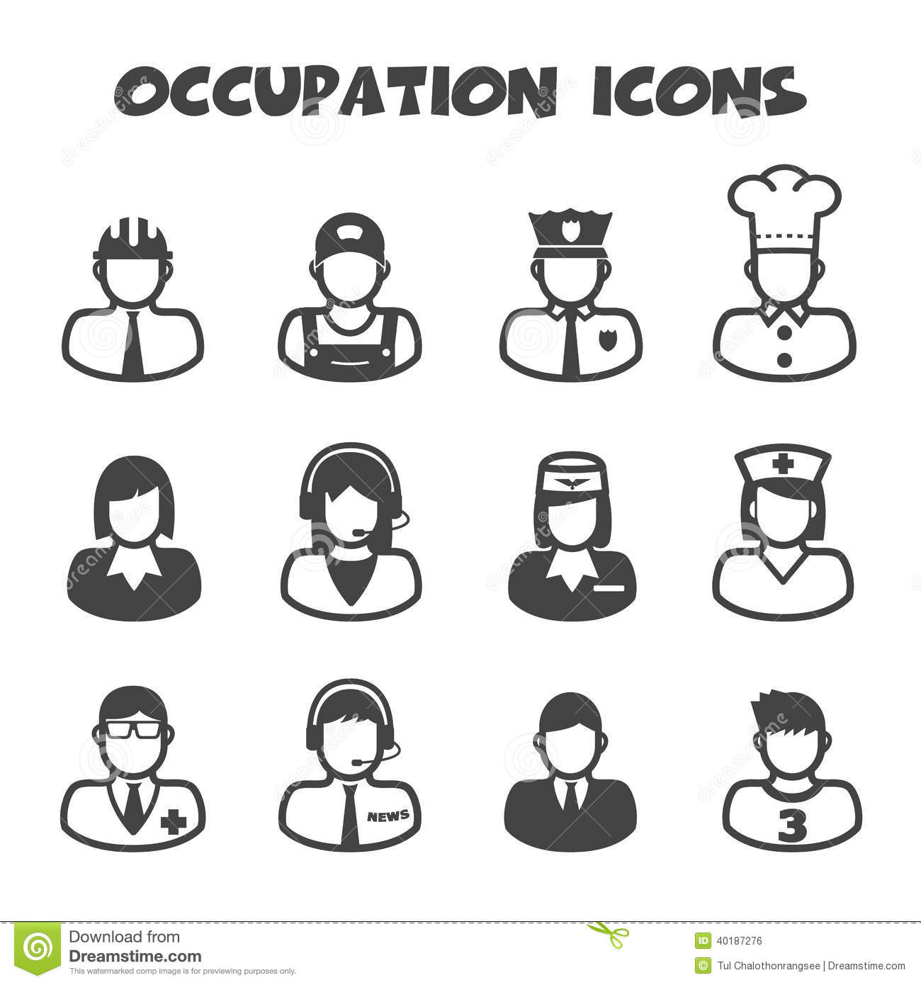 Occupation Icons Stock Vector Illustration Of Female
