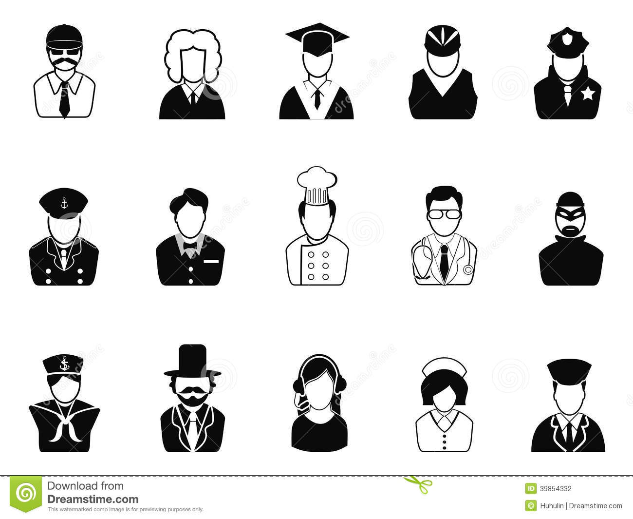 Occupations Avatars User Icons Set Stock Vector