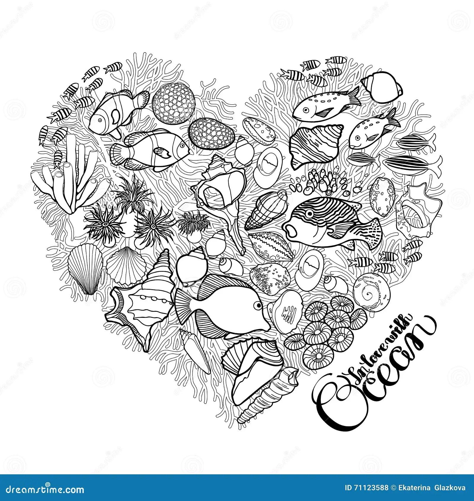 Ocean Life In The Shape Of Heart Stock Vector