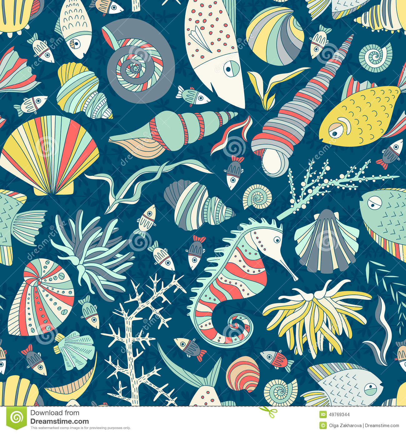 Ocean Pattern Stock Vector Image Of Childish Coral