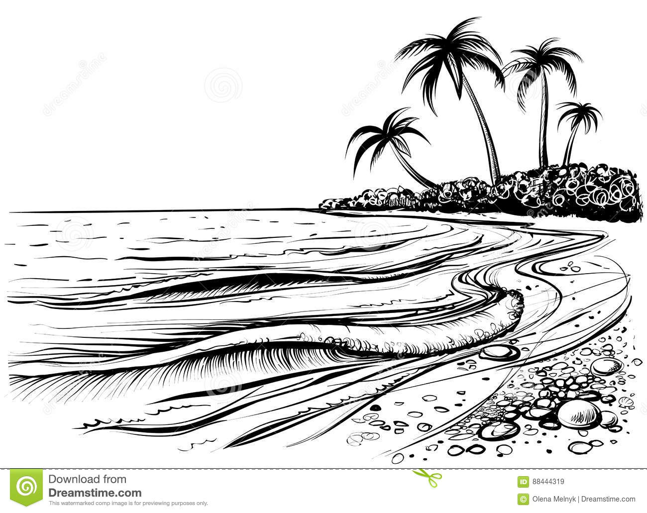 Ocean Or Sea Beach With Palms And Waves Sketch Black And