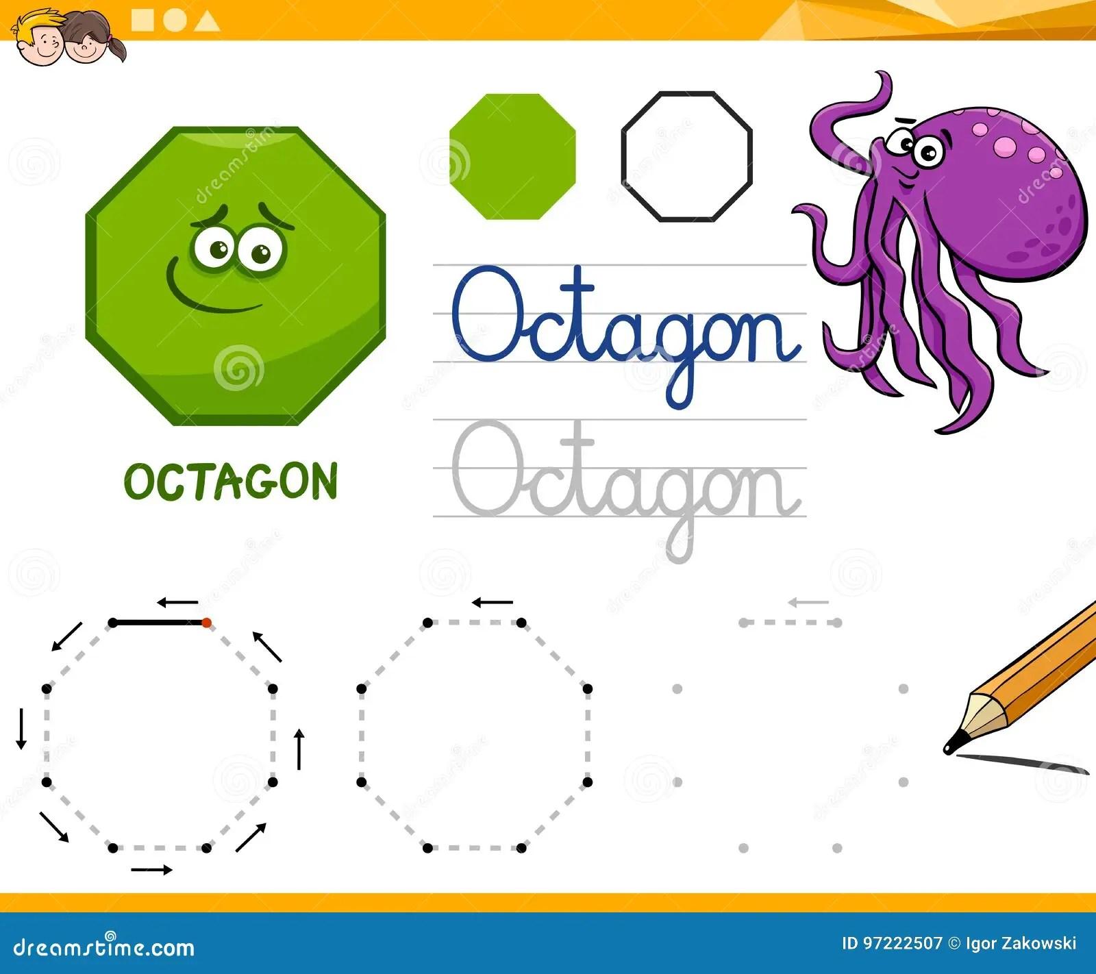 Octagon Cartoon Basic Geometric Shapes Stock Vector