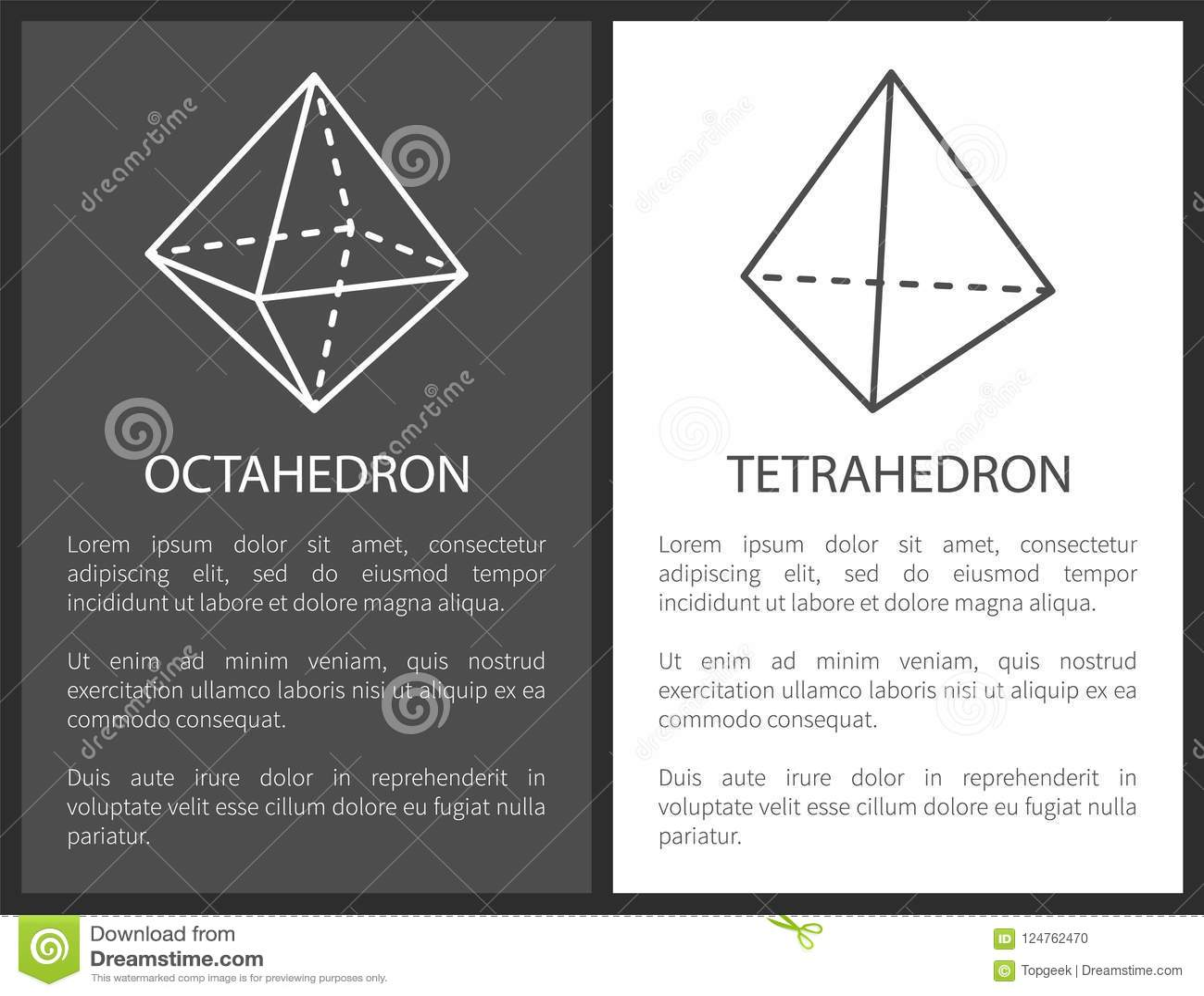 Octahedron And Tetrahedron Geometric Shapes Figure Stock