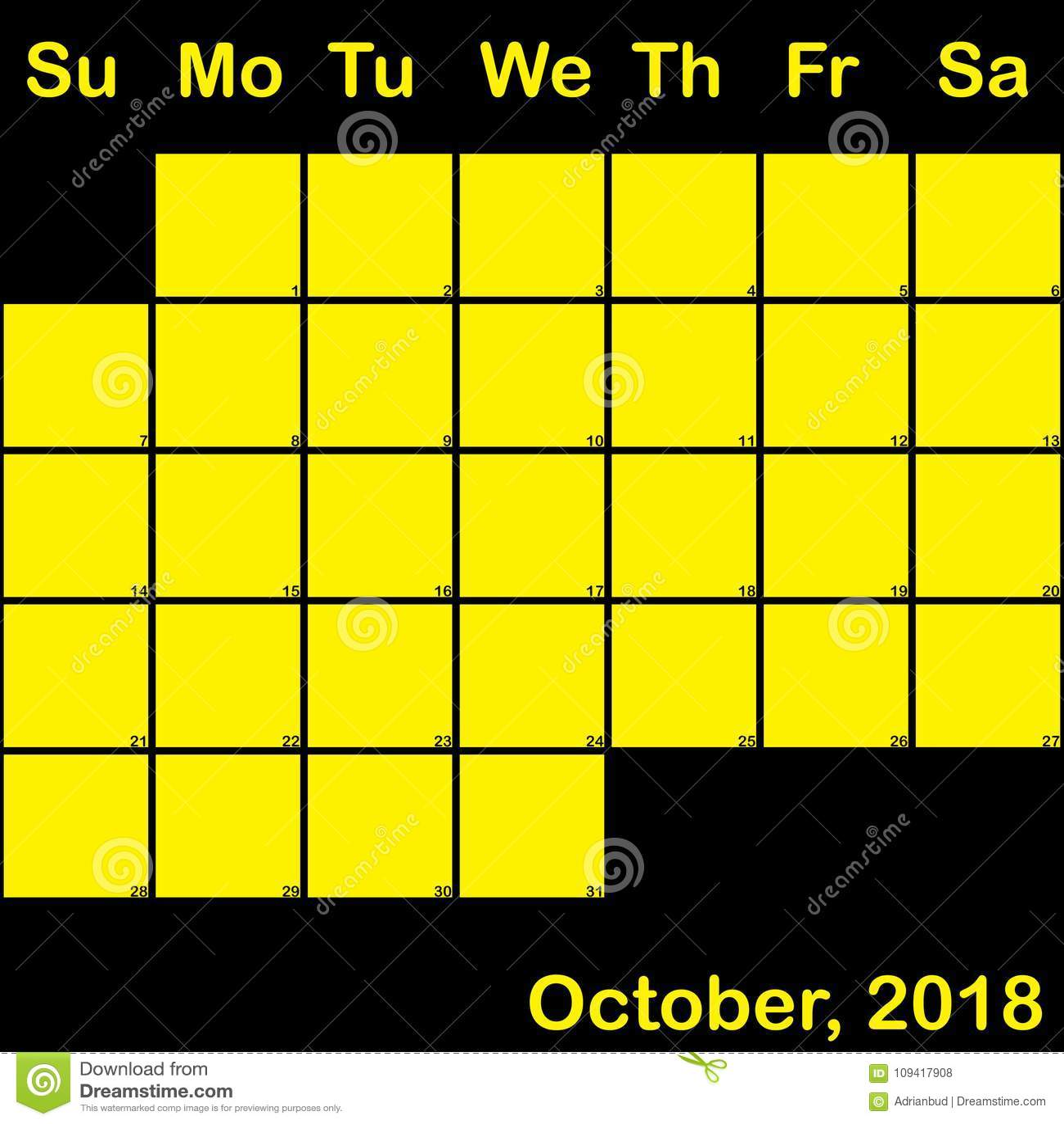 October Yellow On Black Planner Calendar Big Stock