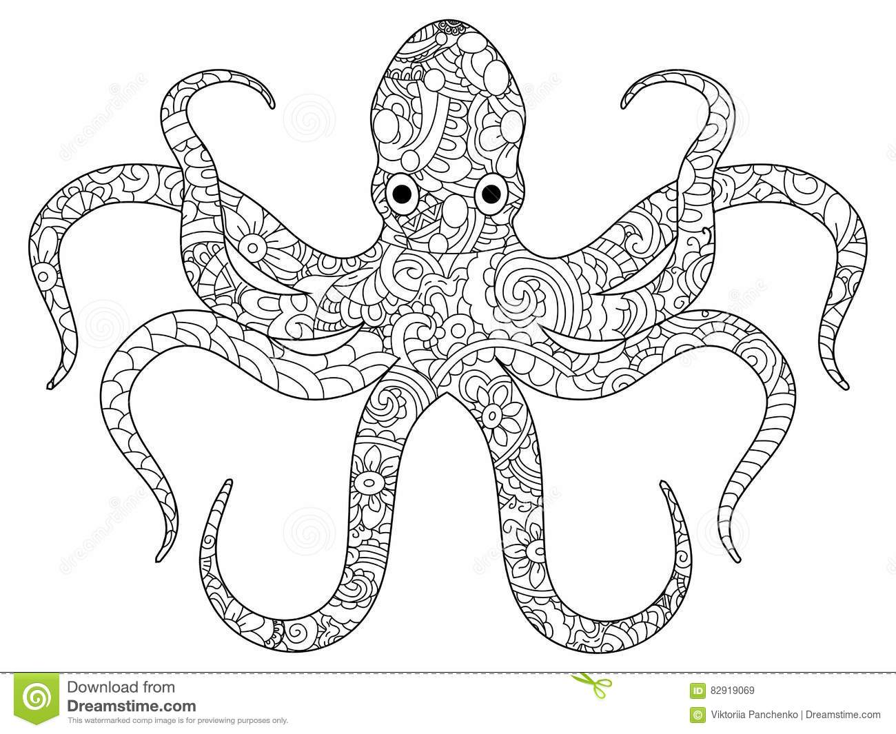 Octopus Coloring Book For Adults Vector Stock Vector