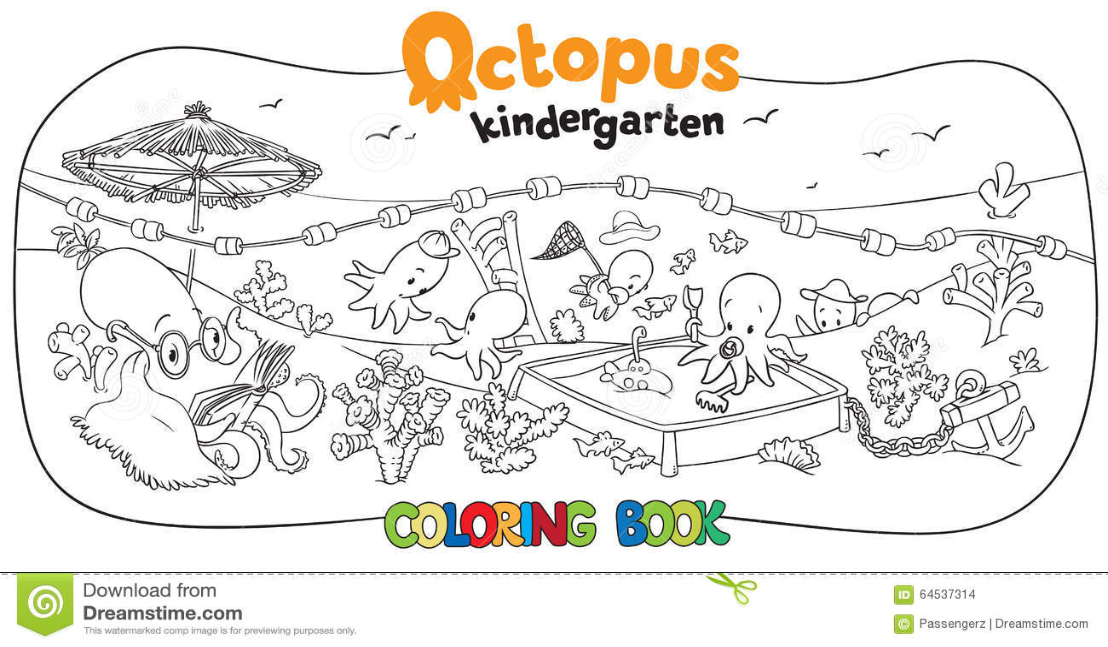 Octopus Kindergarten Coloring Book Stock Vector