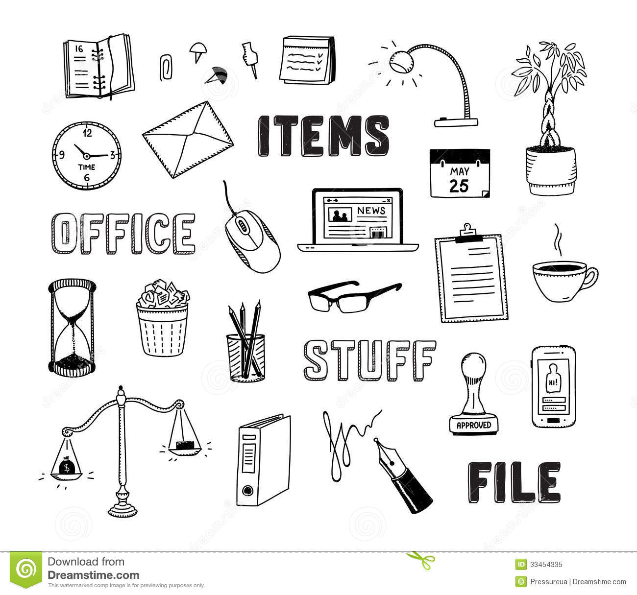 Office And Business Objects Doodles Set Stock Vector