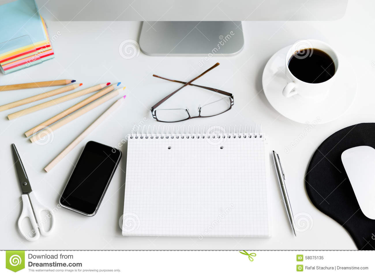 Office Desk Stock Image Image Of Space Concepts Pencils 58075135