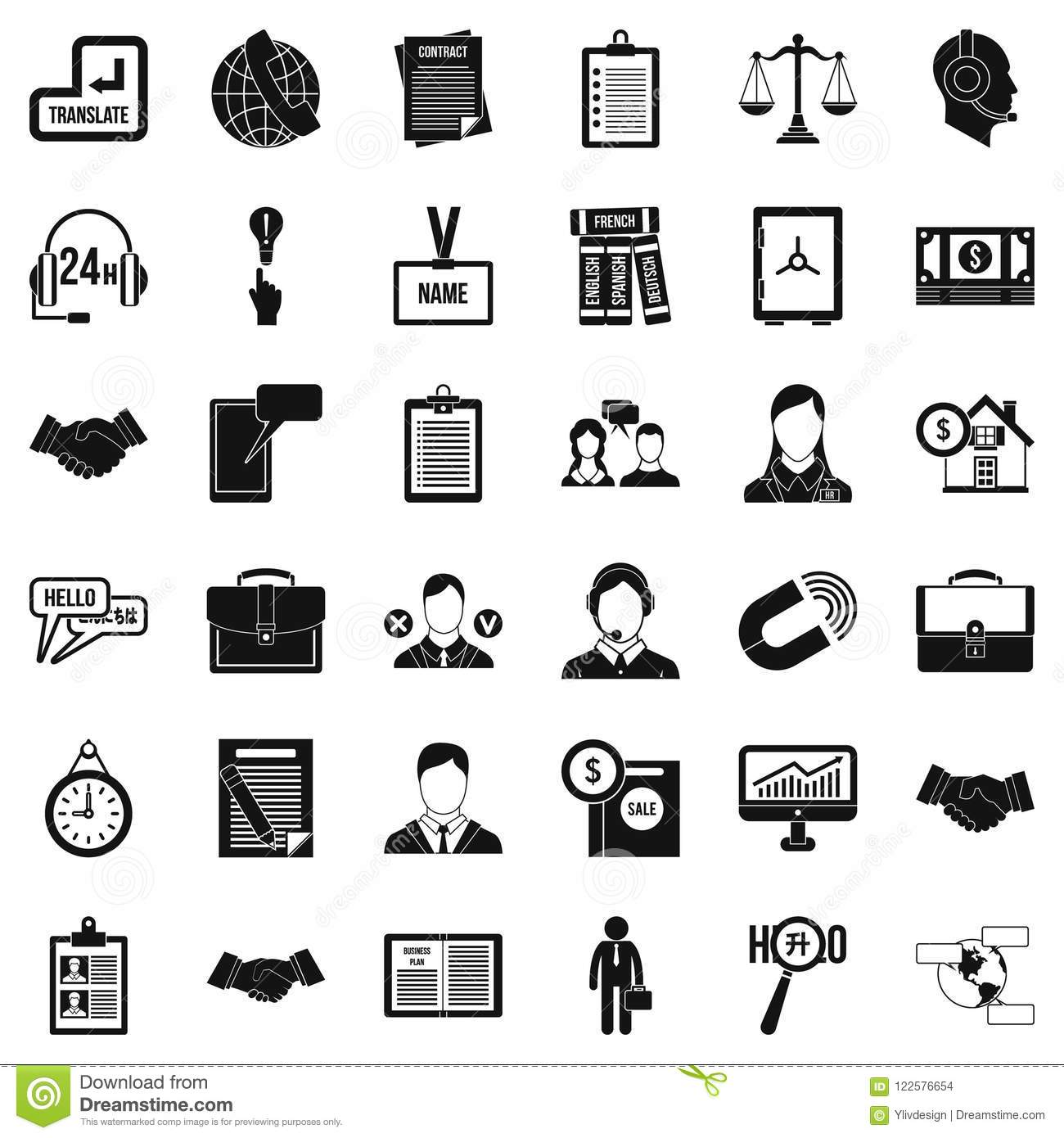 Office Discussion Icons Set Simple Style Stock Vector