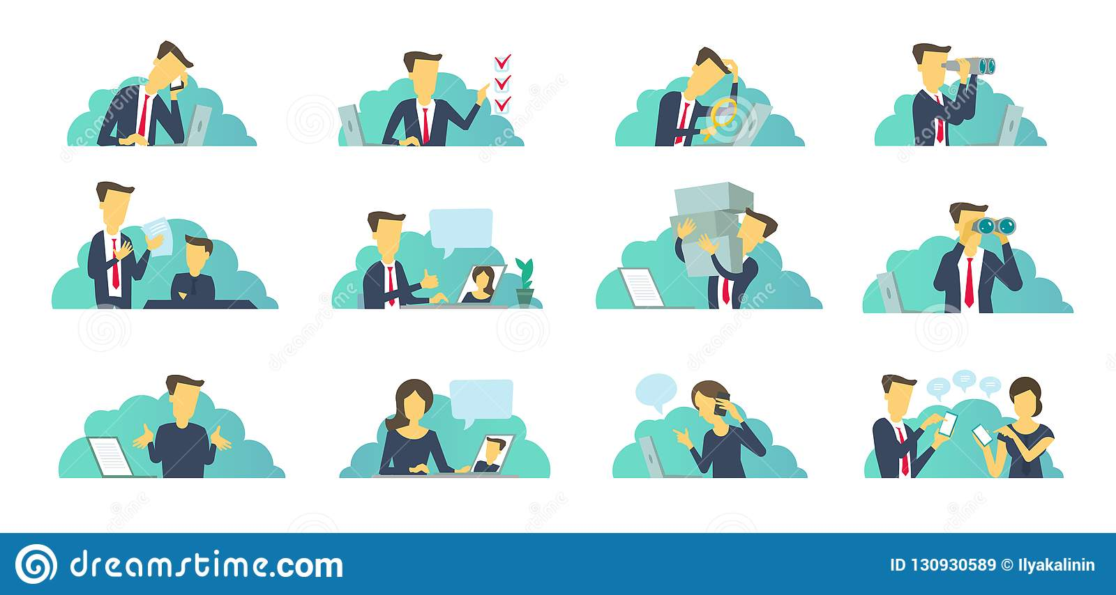 Office Set Of Situations Everyday Tasks At Work Business People Office At The Table Stock