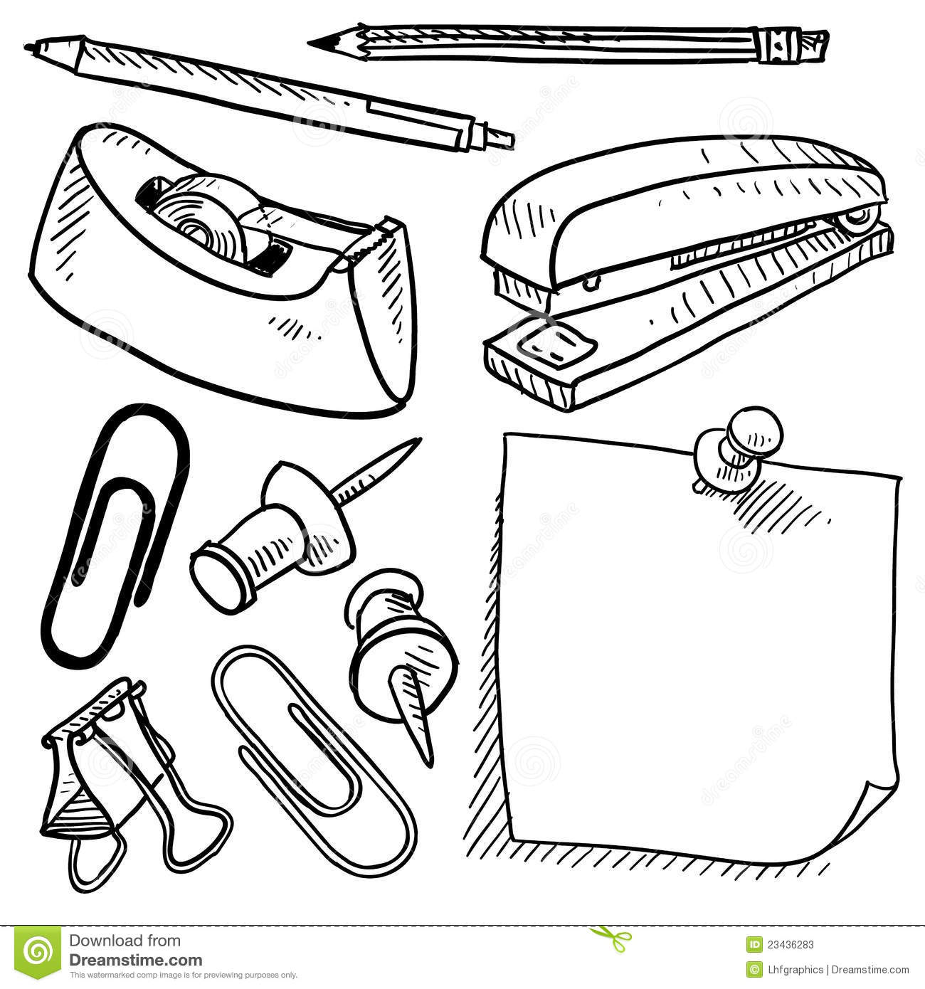 Office Supplies Sketch Stock Photos