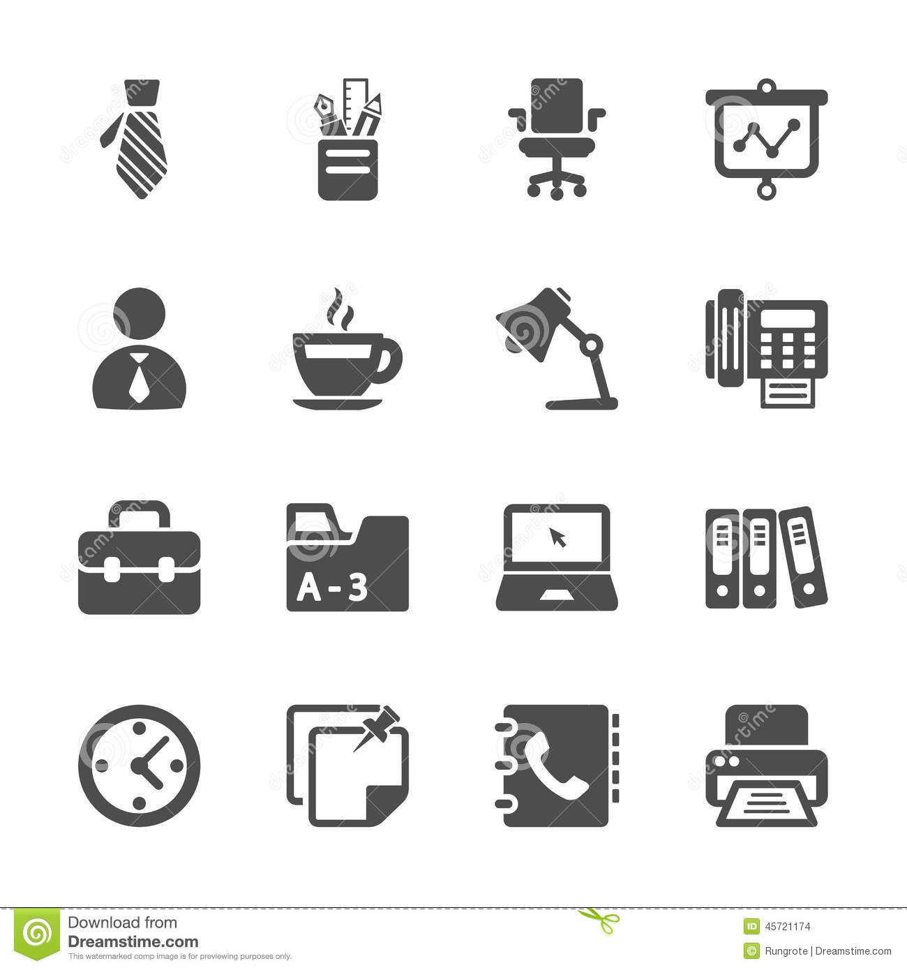 Office Work Icon Set Vector Eps10 Stock Photo