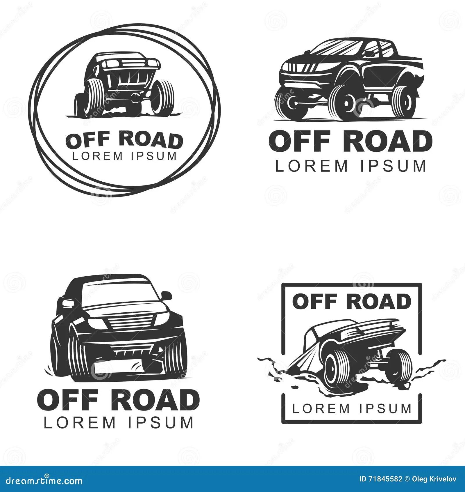 Offroad Set Emblems Cartoon Vector