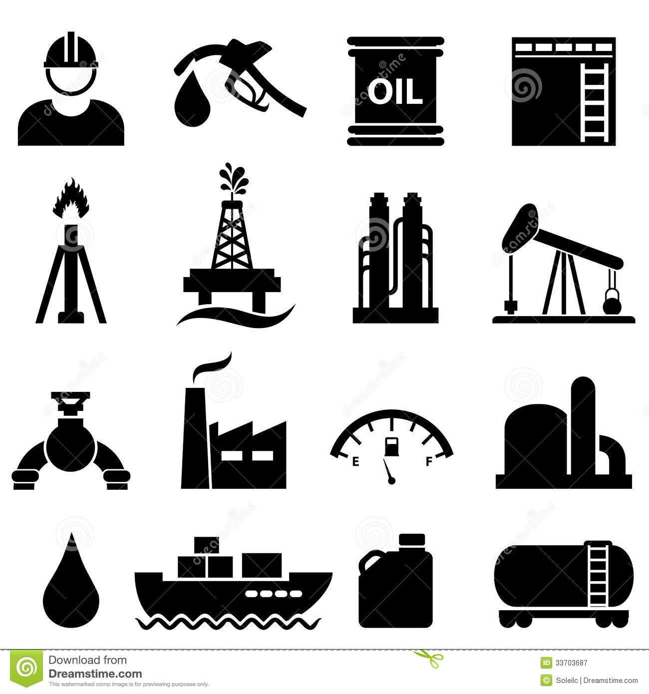 Oil And Gasoline Icon Set Royalty Free Stock Photography