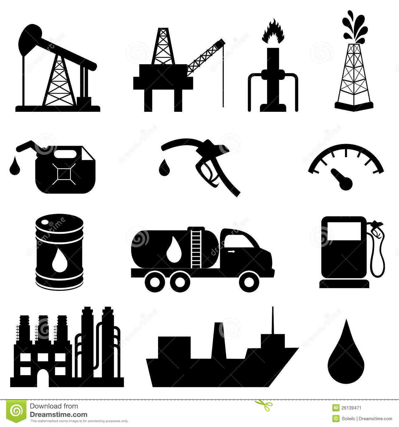 Oil Industry Icon Set Stock Vector Illustration Of
