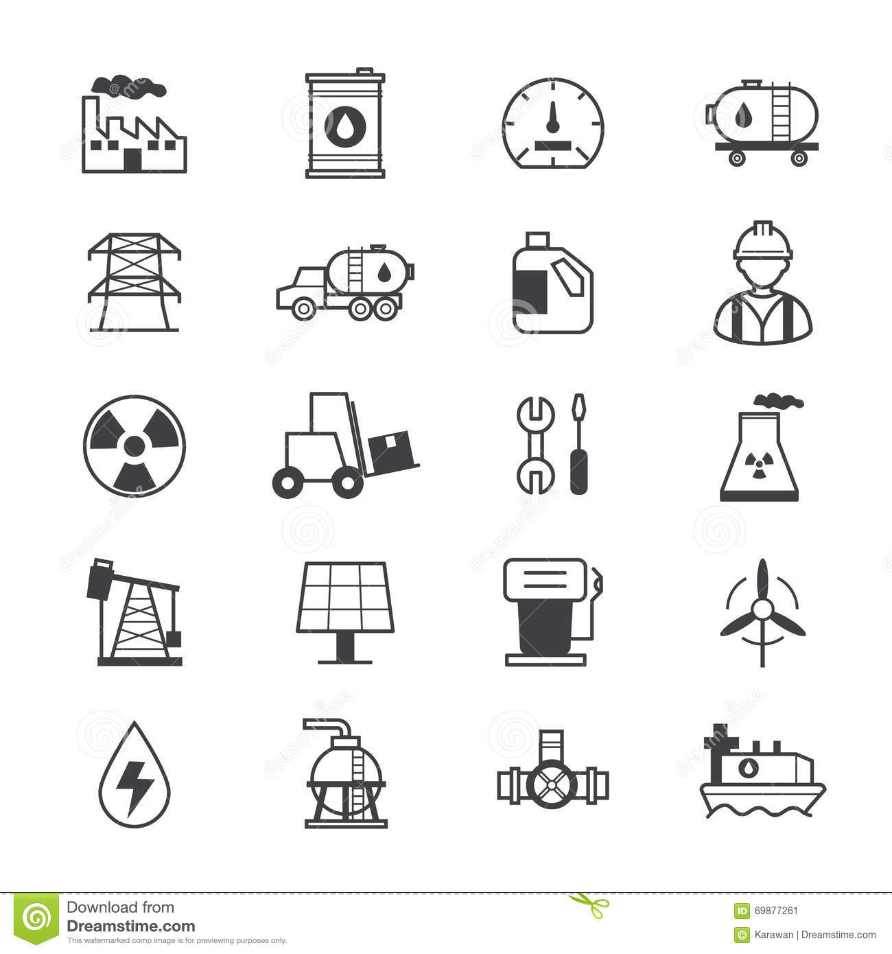 Oil And Industy Icons Line Stock Vector Illustration Of