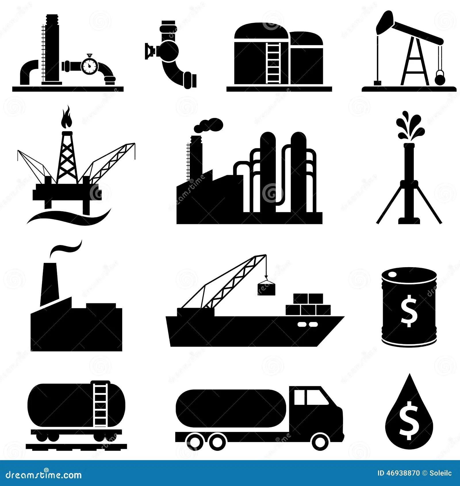 Oil Petrol Icon Set Stock Vector
