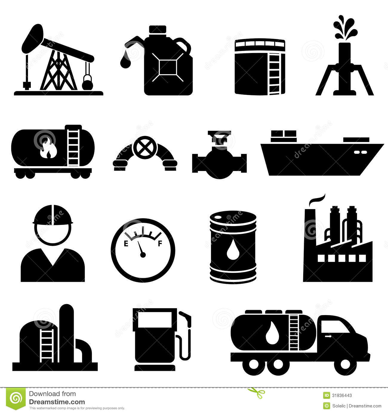 Oil And Petroleum Icon Set Stock Photos