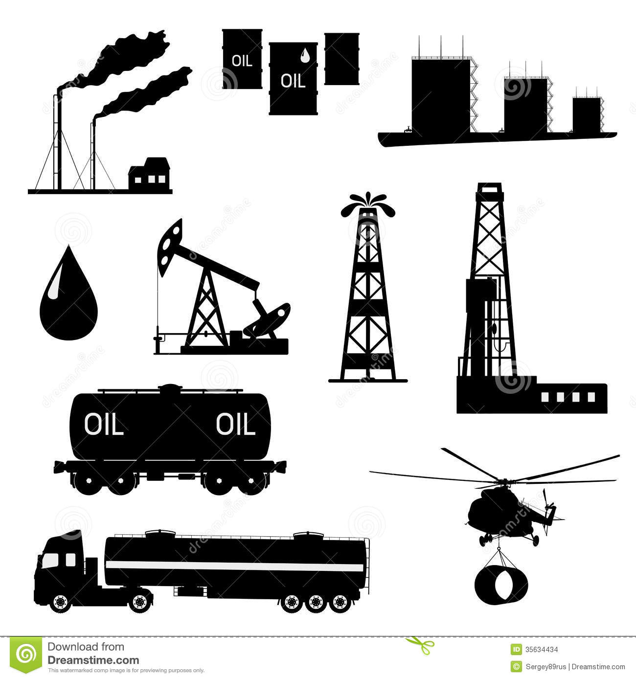 Oil And Petroleum Icon Set Stock Vector