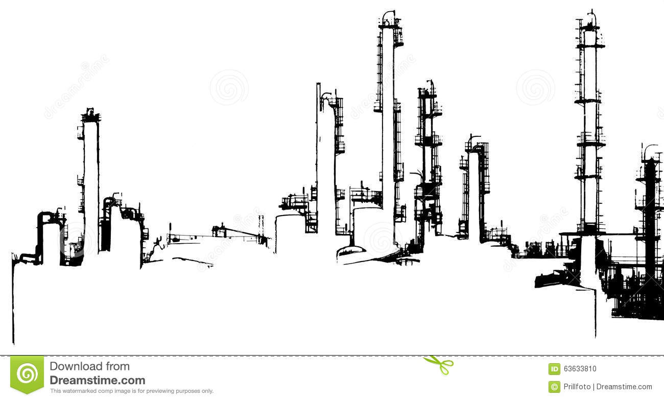 Oil Refinery Illustration Stock Illustration