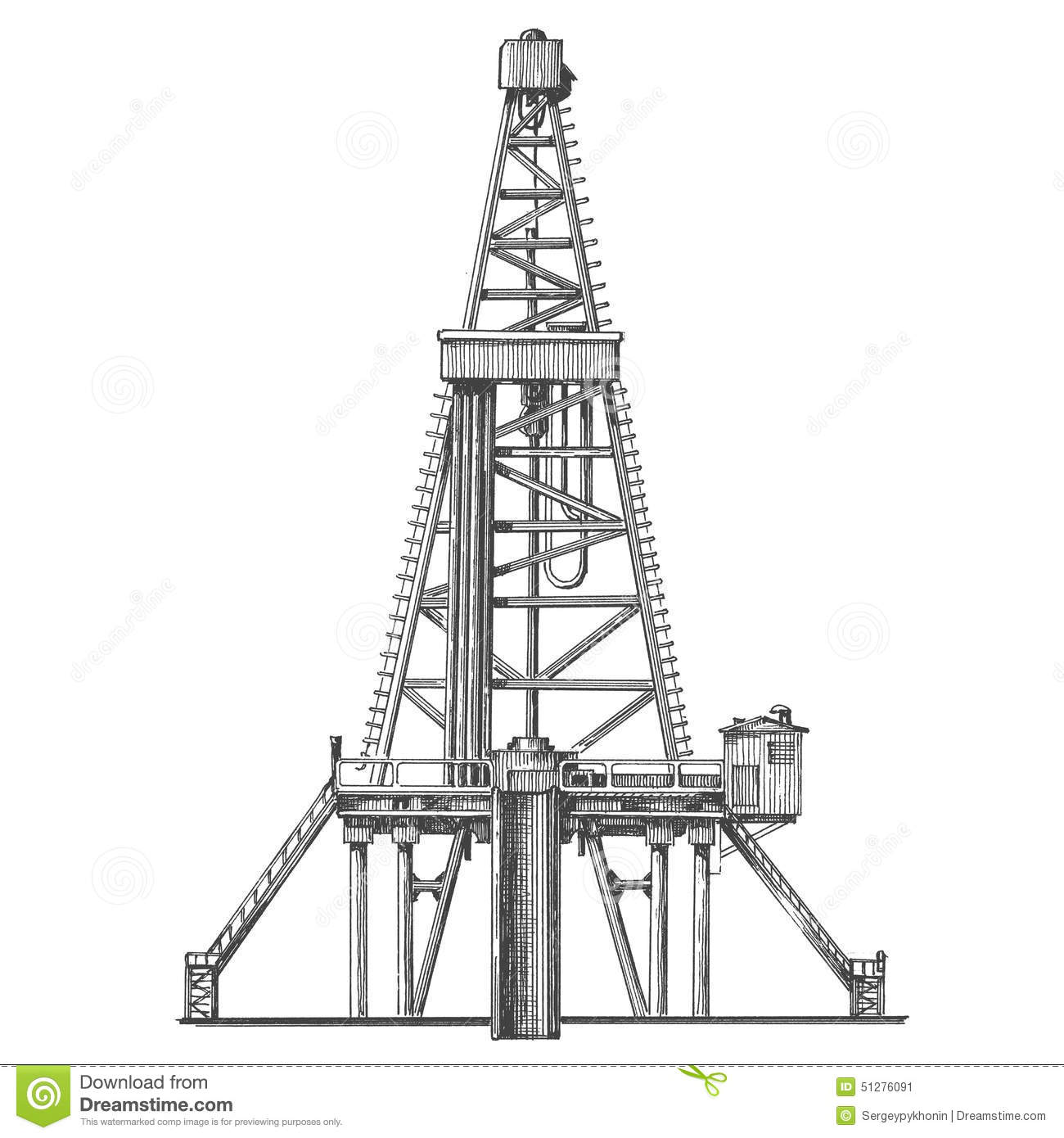 Oil Rig Vector Logo Design Template Petroleum Or Stock
