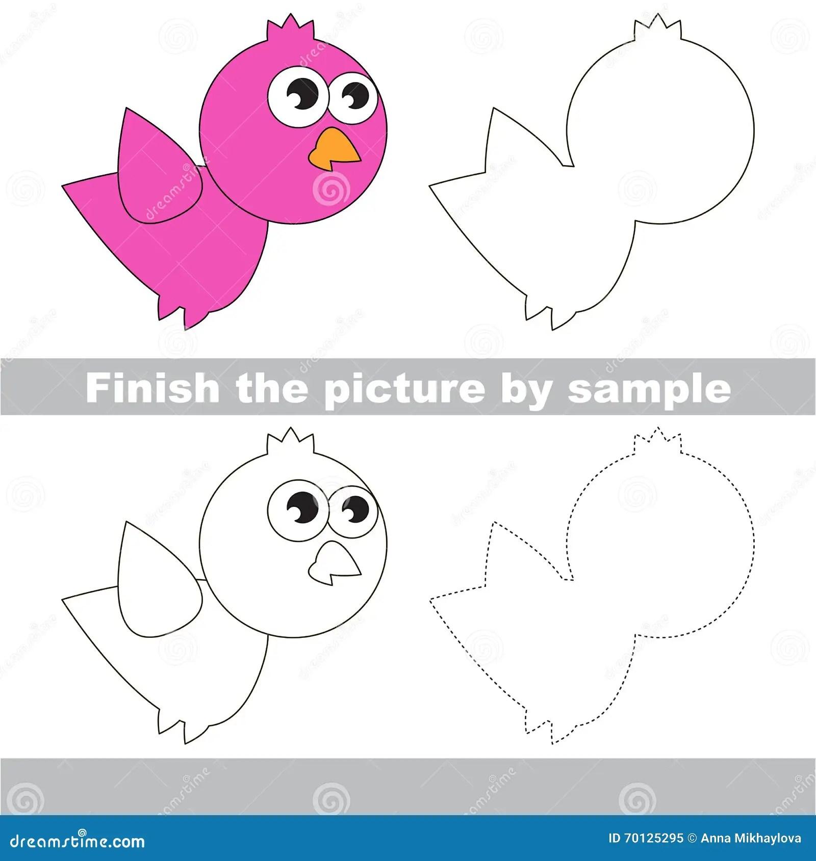 Oiseau Fiche De Travail De Dessin Illustration De Vecteur