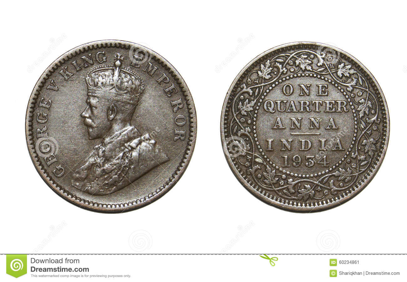 Old British Coin Stock Photo