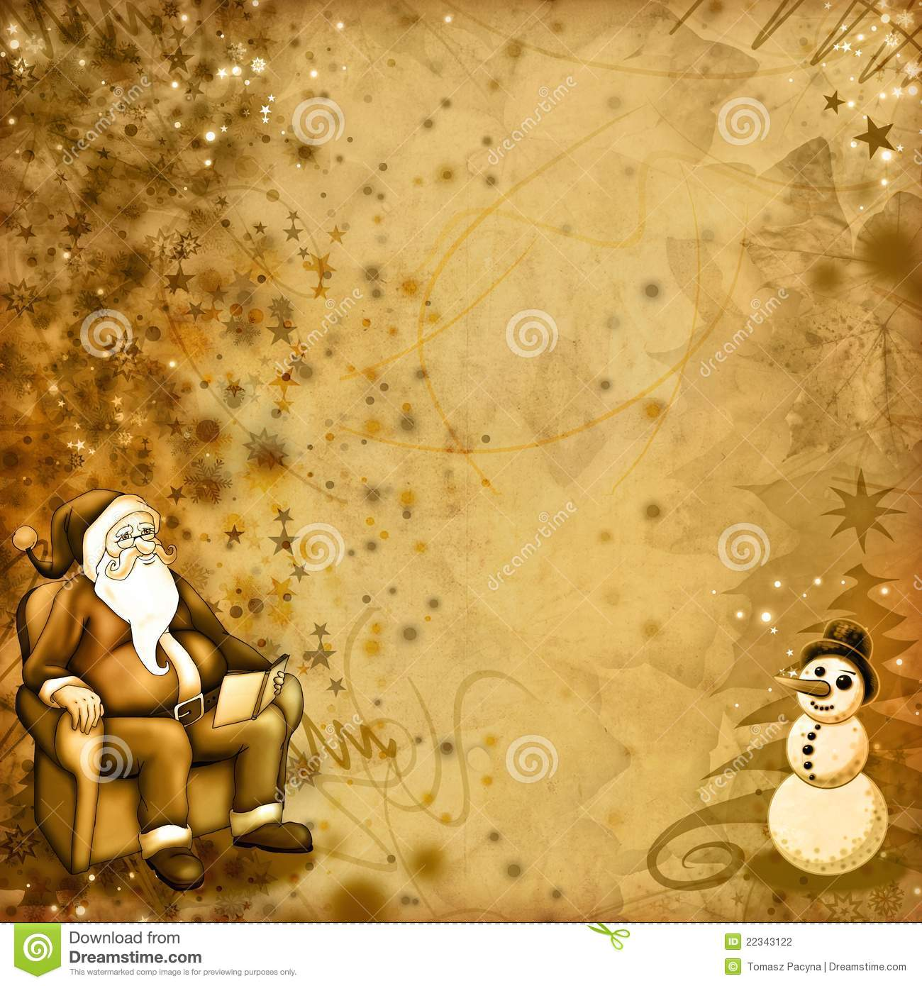 Old Christmas Card Stock Illustration Image Of Hand