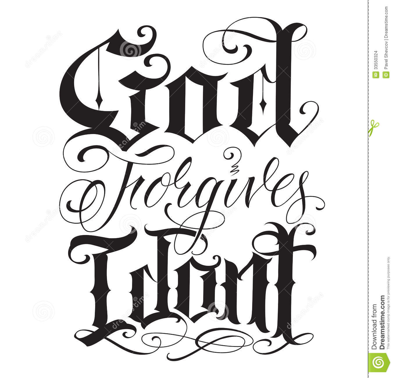 Old English Fine Line Tattoo Writing Stock Vector