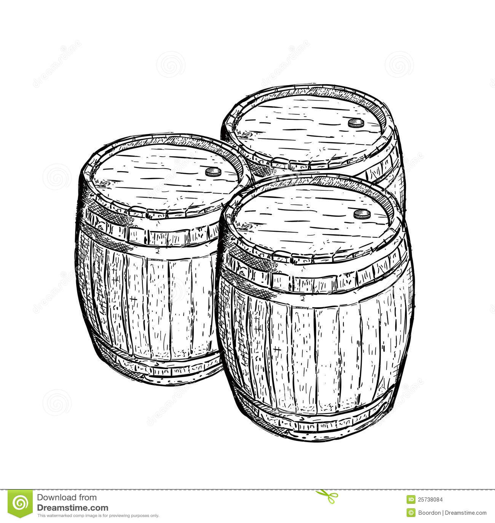 Old Engraving Wine Beer Barrel Stock Images