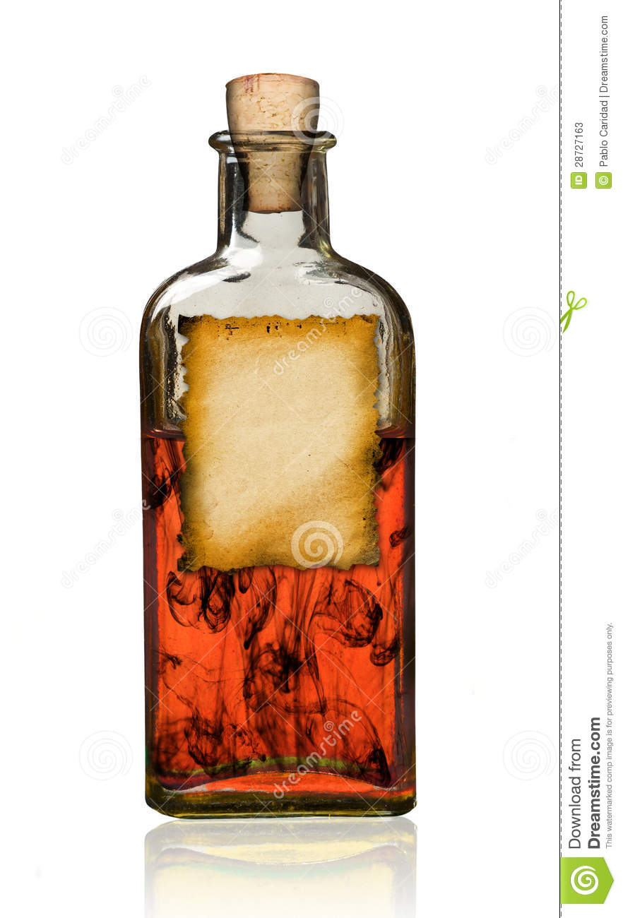 Old Fashioned Drug Bottle With Label Stock Photos