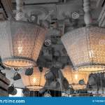 White Vintage Textile Lampshades Of Upside Down Floor Lamps Installed To Ceiling Shabby Chic Lamp Decor With Lace Stock Photo Image Of Closeup Home 148356618