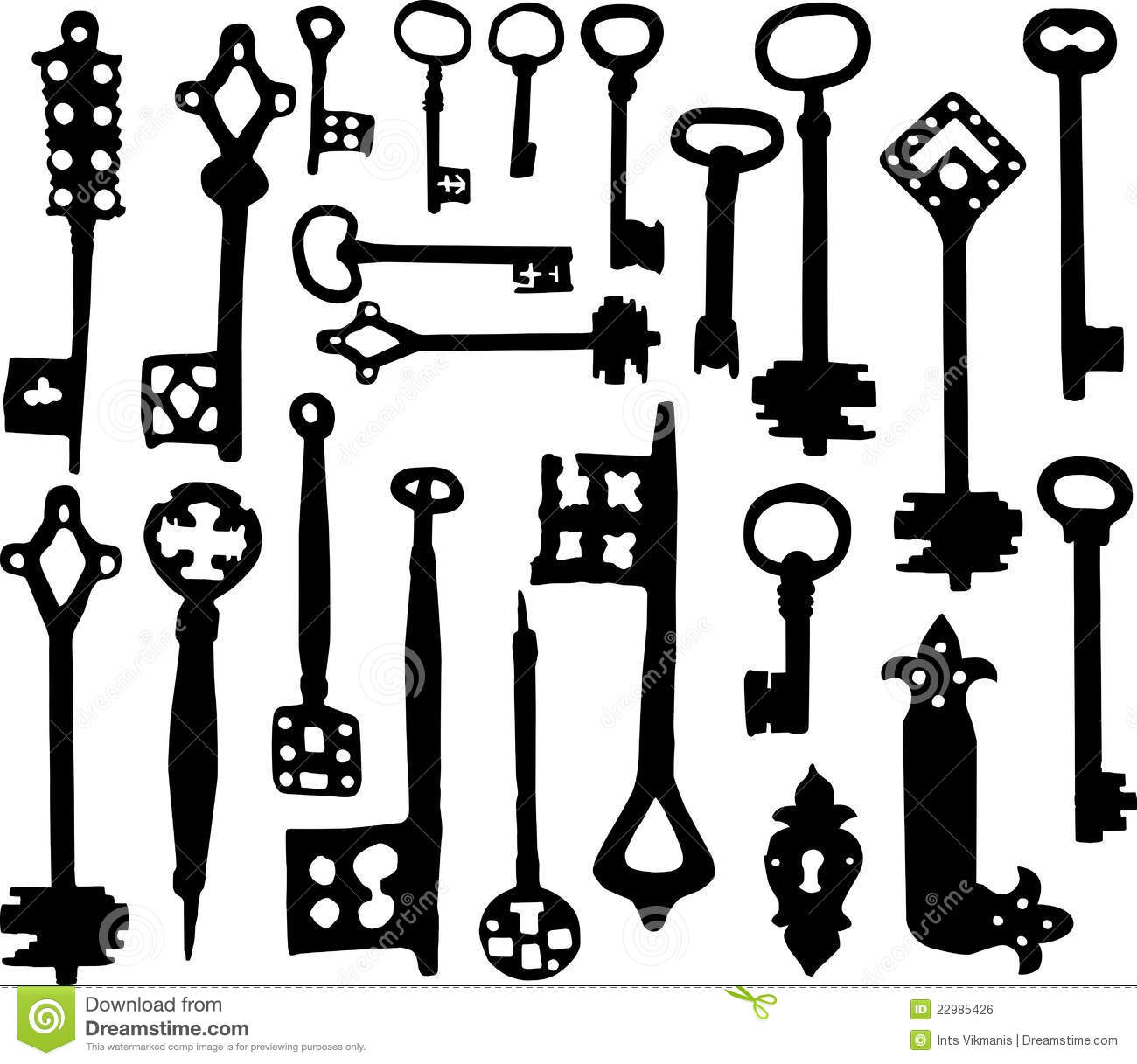 Old Fashioned Skeleton Keys Stock Vector