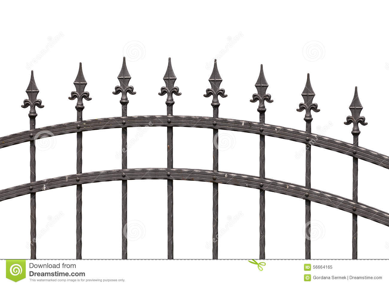 Old Fashioned Spike Fence Stock Photo