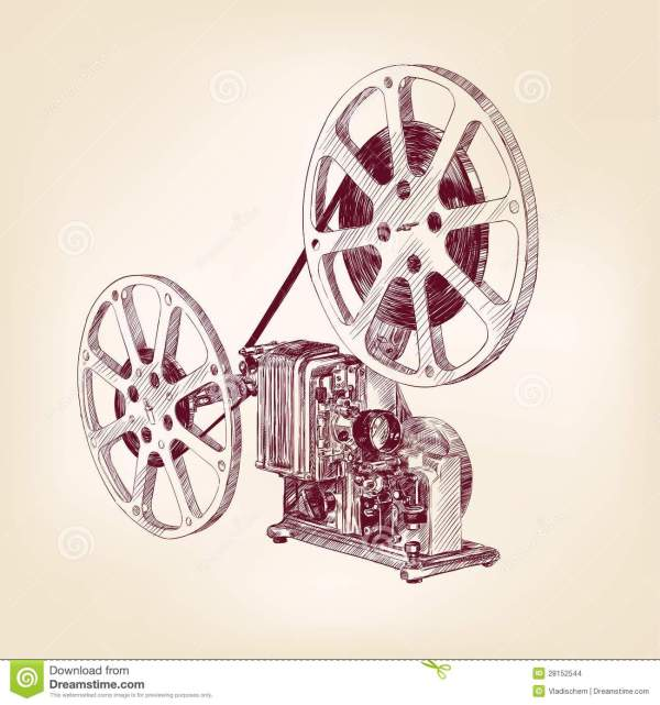 Old Film Projector Hand Drawn Stock Images - Image: 28152544