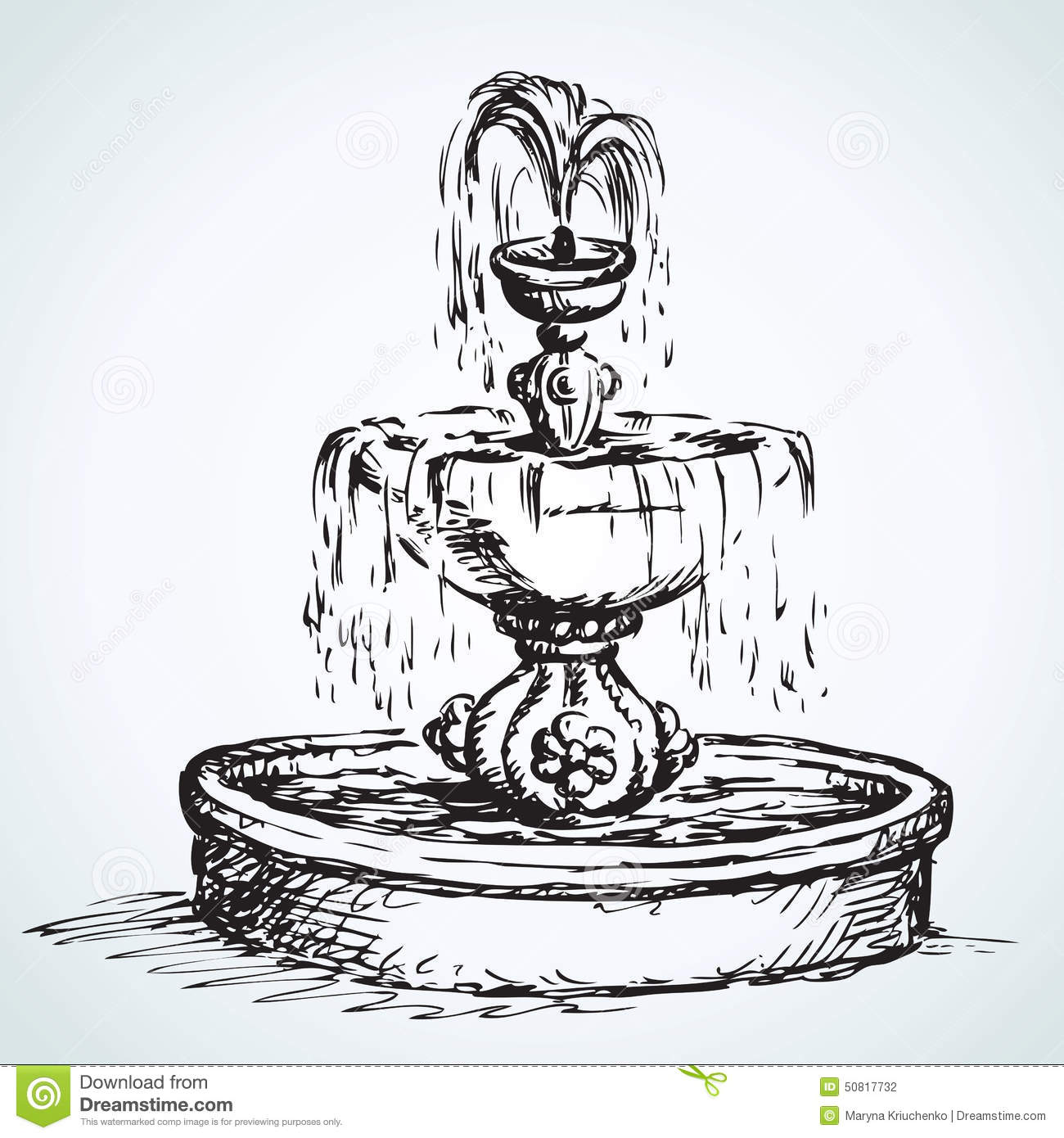 Old Fountain Vector Drawing Stock Vector