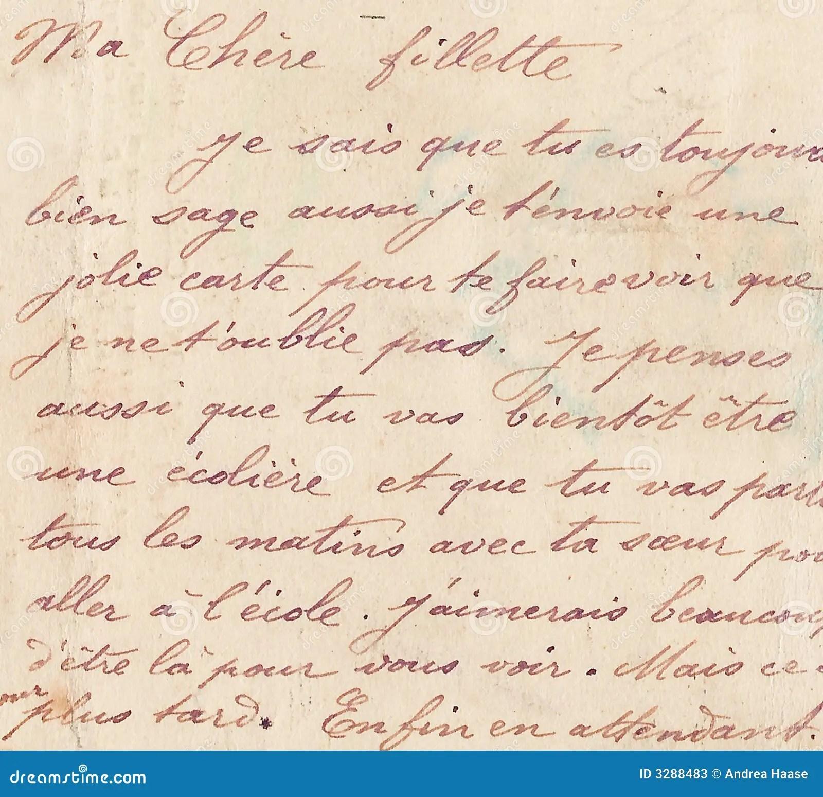 Old French Handwriting Stock Illustration Illustration Of