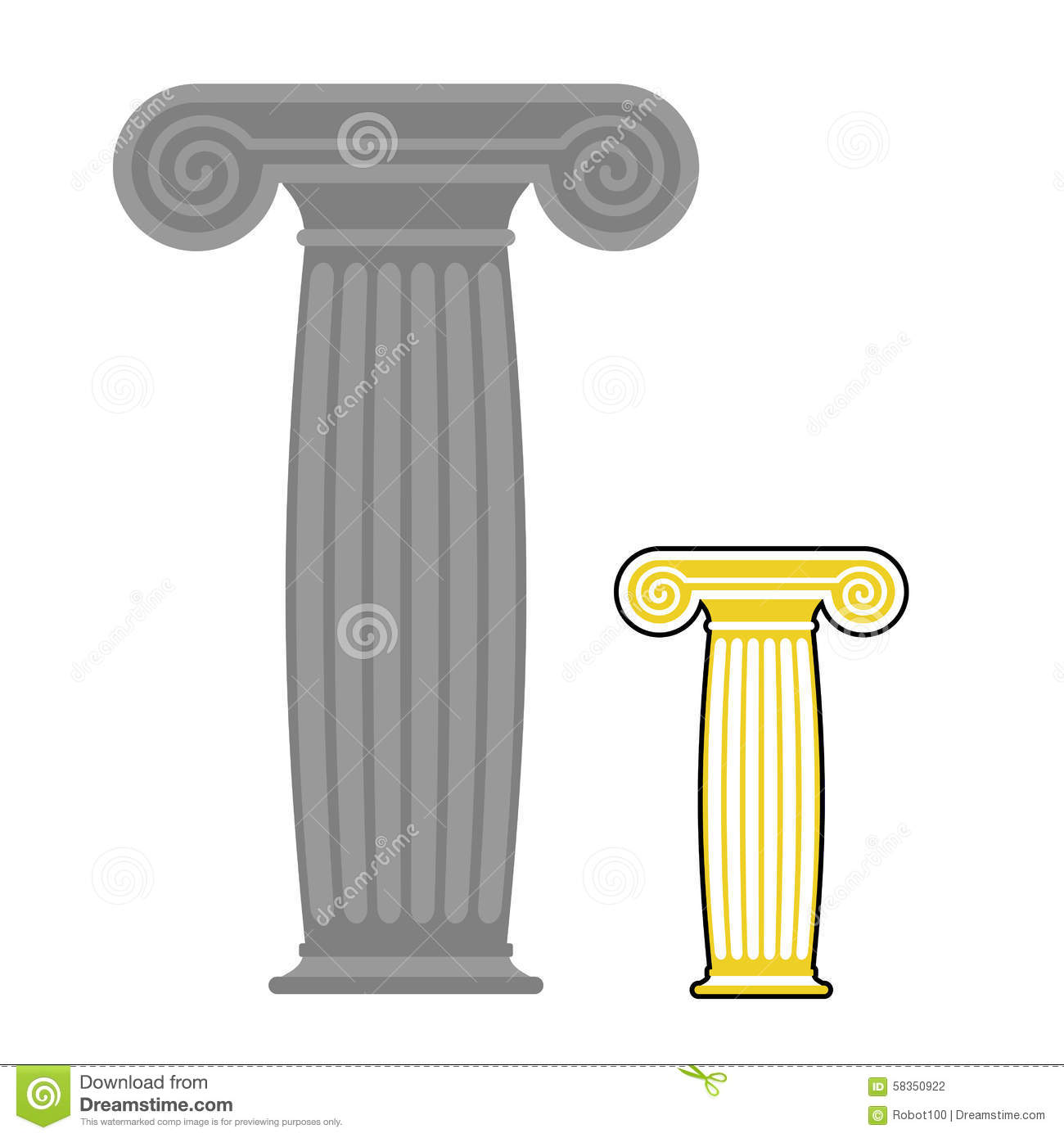 Old Greek Column Vector Illustration Ancient Stone High