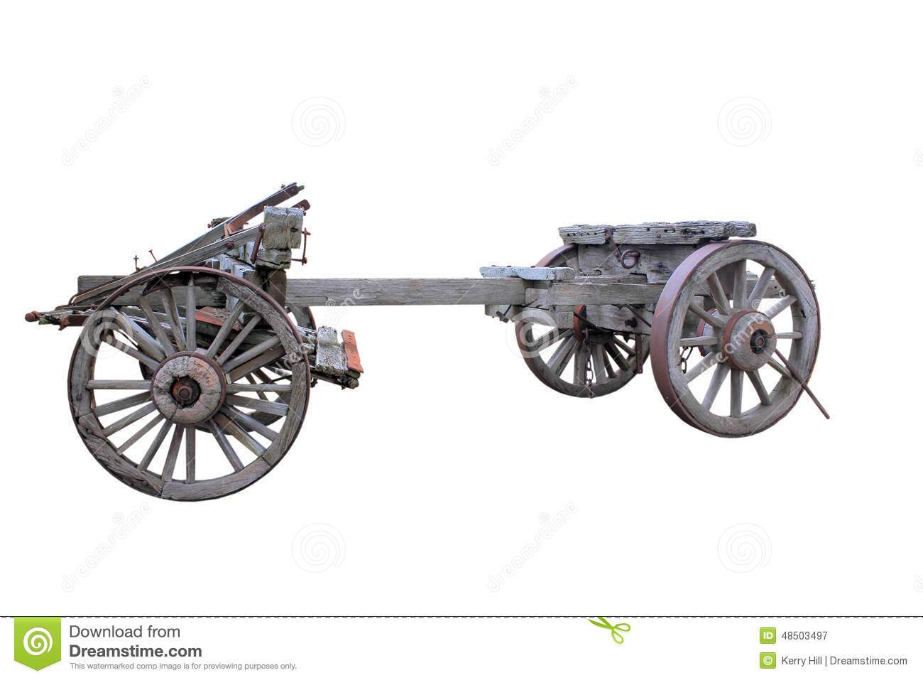 Old Historical Horse Drawn Wagon Isolated Stock Photo