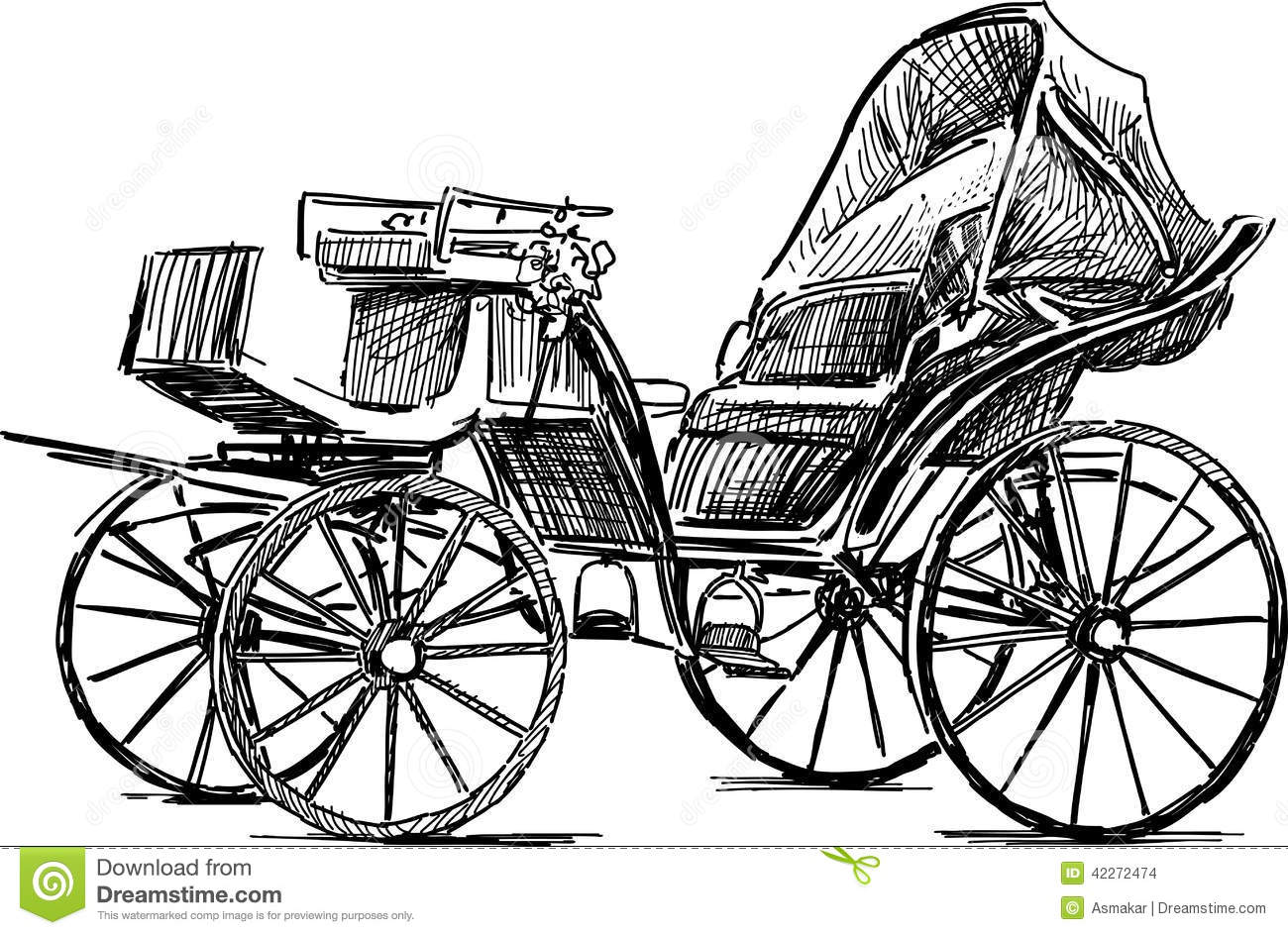 Old Horse Carriage Stock Vector